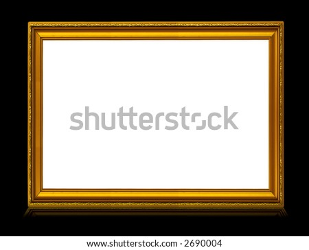 golden frame with reflection isolated on deep black background - stock photo