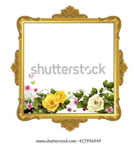 Golden frame with roses on white background - stock photo