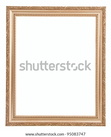 Golden frame with simple pattern isolated on white background - stock photo