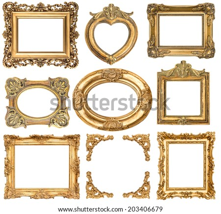 golden frames isolated on white background. baroque style antique objects. vintage background for your photo, picture, image - stock photo