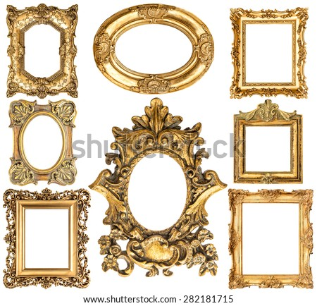Golden frames isolated on white background. Baroque style antique objects. Vintage collection. Scrapbook elements - stock photo