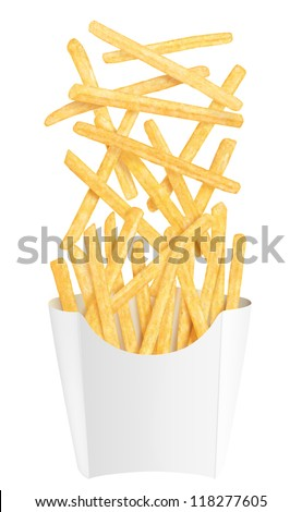Golden french fries falling into white packaging, on white background - stock photo