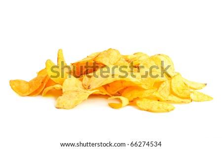 Golden fresh chips - stock photo