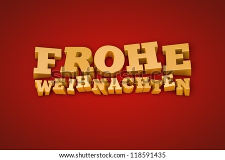 Golden Frohe Weihnachten (Merry Christmas in german) text on a red background (3d illustration) - stock photo