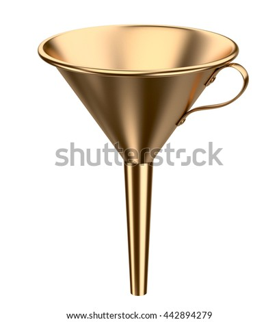 Golden funnel. 3D illustration isolated on white background. - stock photo