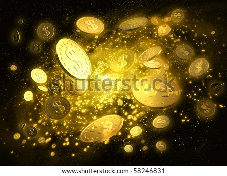Golden Galaxy of money with a dollar signs - stock photo