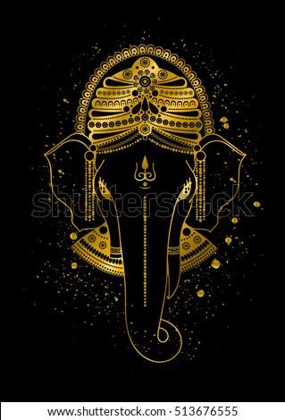 golden ganesha or ganapati indian god in the hindu gold color splash