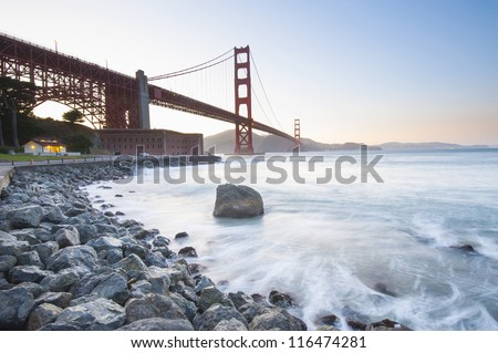 Golden Gate Bride at sunset. San Francisco, California, USA - stock photo