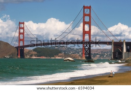 Golden Gate Bridge a seen from Baker Beach in San Francisco, USA. - stock photo