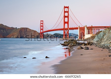 Golden Gate Bridge after sunset, San Francisco - stock photo