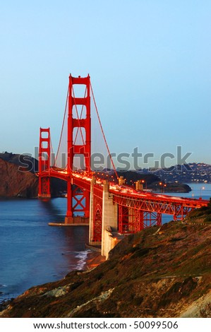 Golden Gate Bridge after sunset; San Francisco, California - stock photo