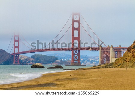 Golden Gate Bridge and Baker Beach, San Francisco, California - stock photo