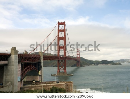 Golden Gate Bridge and Bay - stock photo