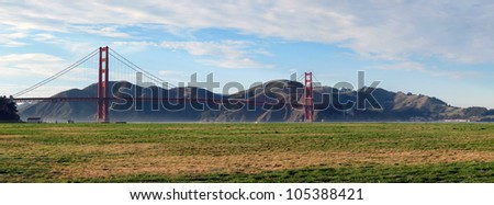 Golden Gate Bridge and Crissy Field San Francisco - stock photo