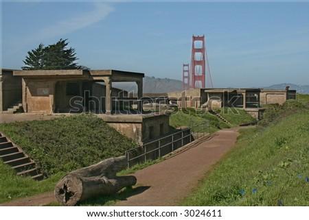 Golden Gate Bridge and Fort - stock photo