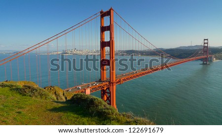Golden Gate bridge and San Francisco seen from Battery Spencer, - stock photo
