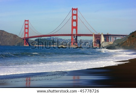 Golden gate bridge as seen from the Baker beach, San Francisco, California
