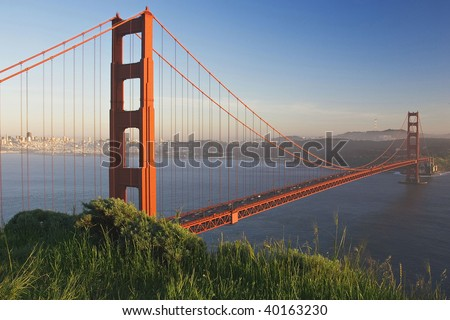Golden Gate Bridge as viewed from Golden Gate National Recreation Area in San Francisco California - stock photo