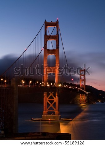 Golden Gate Bridge at dusk, San Francisco - stock photo
