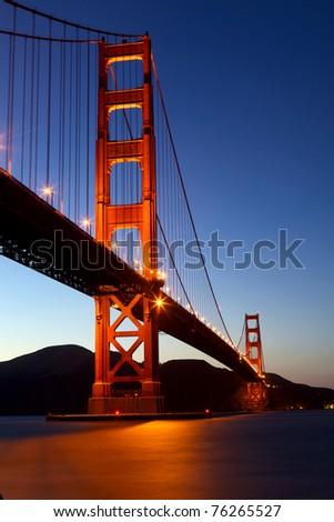 Golden Gate Bridge at dusk, San Francisco, California - stock photo