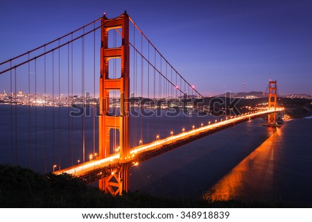 Golden Gate Bridge at dusk, San Francisco, California USA - stock photo