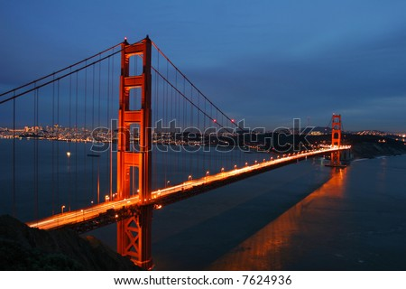 Golden Gate Bridge at dusk, San Francisco, California, USA - stock photo