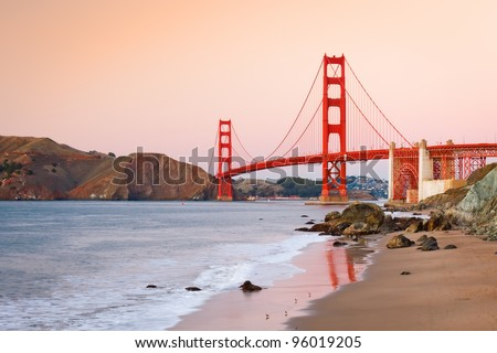 Golden Gate Bridge at dusk, Sun Francisco - stock photo