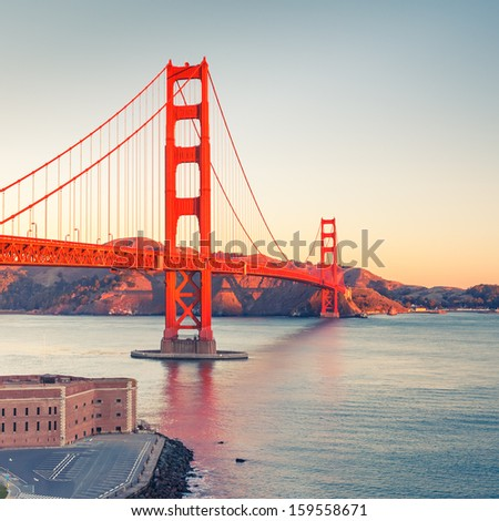 Golden Gate Bridge at morning, San Francisco - stock photo
