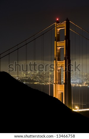 Golden Gate Bridge at Night 2 - stock photo
