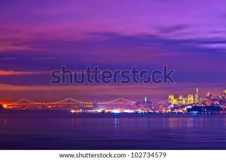Golden Gate Bridge at night San Francisco California - stock photo