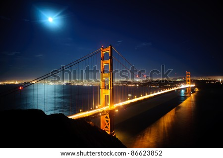 Golden Gate Bridge at night. San Francisco, USA - stock photo