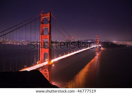 Golden Gate Bridge at Night seen from Marine Headlands, San Francisco, California.