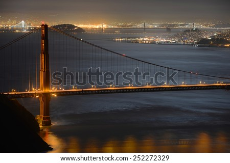 Golden Gate Bridge at night, with San Francisco city skyline at back ground, San Francisco, California, USA