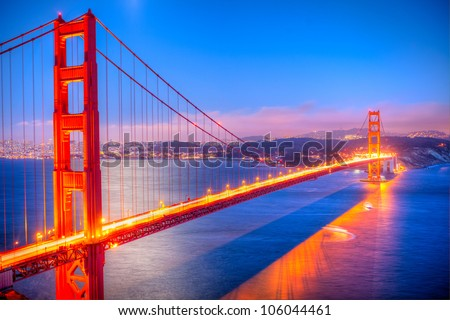 Golden Gate Bridge at sunset.