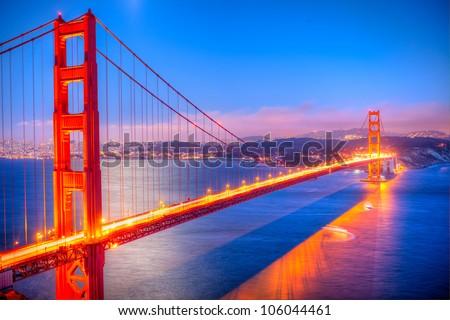 Golden Gate Bridge at sunset. - stock photo