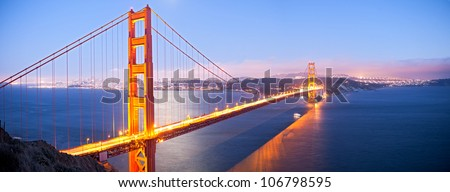 Golden Gate Bridge at Sunset. - stock photo
