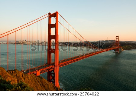 Golden Gate Bridge at sunset - stock photo