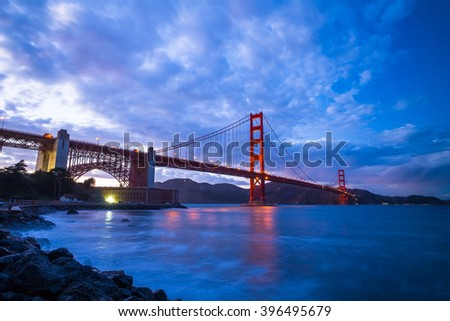 Golden Gate Bridge at Sunset.  Fort Point.  San Francisco, California, USA.