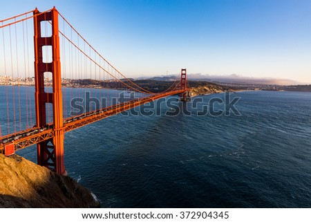 Golden Gate Bridge at sunset from Battery Spencer viewpoint