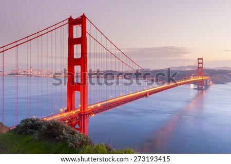 Golden Gate Bridge at sunset, San Francisco, California, USA - stock photo