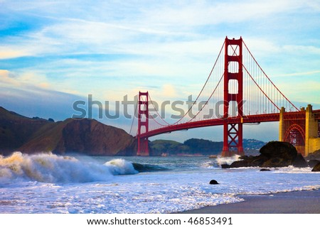 Golden Gate Bridge at Sunset Seen from Marshall Beach, San Francisco. - stock photo