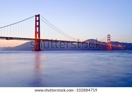 Golden Gate Bridge at twilight - stock photo