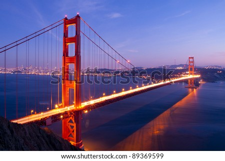 Golden Gate bridge at twilight. San Francisco, USA. - stock photo