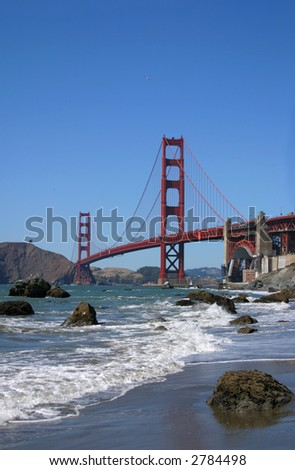 Golden Gate Bridge beach view