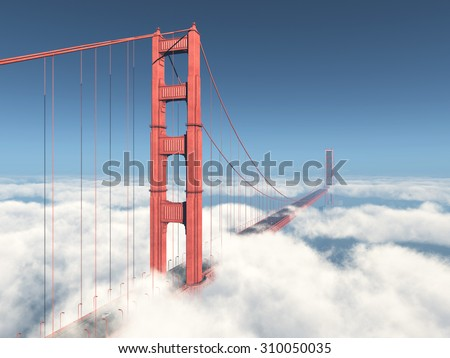 Golden Gate Bridge Computer generated 3D illustration - stock photo