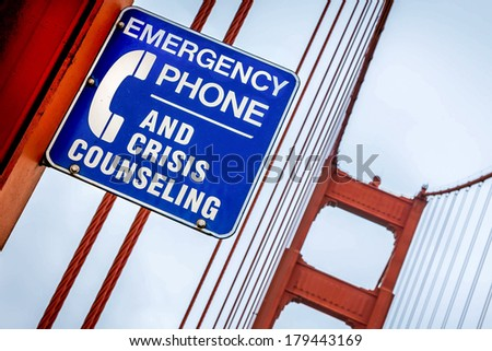 Golden Gate Bridge Crisis Counselling Sign - stock photo