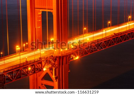 Golden Gate bridge detail. San Francisco, California. - stock photo