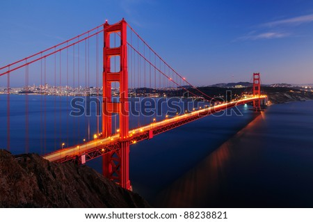 Golden Gate Bridge Dusk - stock photo