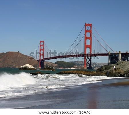 Golden Gate Bridge from Baker Beach - stock photo