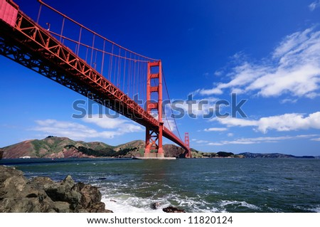 Golden Gate Bridge from Fort Point on a clear spring morning - landscape orientation. - stock photo
